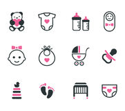 Baby icons. Baby icons isolated on white background. Vector set Royalty Free Stock Image