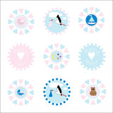 Baby Icons / Logos. Baby symbols for new girl or boy arrival announcement card or logo for business, companies, organisations, etc, vector Stock Images