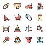 Baby Icons Minimalistic Flat Line Icon. Baby Symbol Set Collection vector illustration