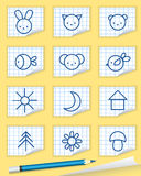 Baby icons on the notebook. Royalty Free Stock Photo