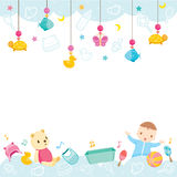 Baby Icons And Objects Background stock illustration