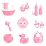 Baby-Icons in pink. Vector-Illustration Stock Photography