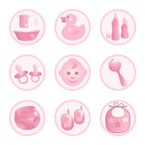 Baby-Icons in pink. Royalty Free Stock Image