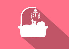 Baby  icons on pink backgrounds,Vector illusr=trations Royalty Free Stock Images