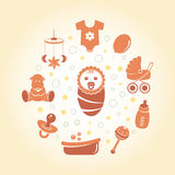 Baby icons round card Stock Photos
