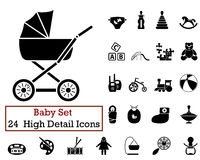 24 Baby Icons. Set of 24 Baby Icons in Black Color Royalty Free Stock Photos