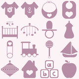 Baby icons set. Royalty Free Stock Photography
