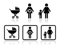 Baby icons set - carriage, pregnant woman, family. Black icons set - motherhood, pregnancy Stock Photography