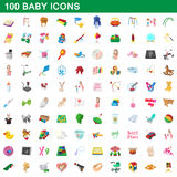 100 baby icons set, cartoon style. 100 baby icons set in cartoon style for any design vector illustration Stock Photo