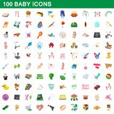 100 baby icons set, cartoon style. 100 baby icons set in cartoon style for any design illustration stock illustration