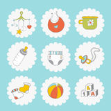 Baby icons set. Cute things on a blue background Stock Photography
