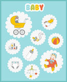 Baby icons set. Cute  things on light background Stock Photo