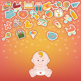 Baby Icons Set.  Doodle baby labels Vector Illustration Royalty Free Stock Images