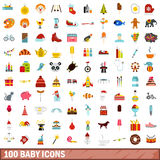 100 baby icons set, flat style Royalty Free Stock Photography