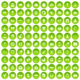 100 baby icons set green. 100 baby icons set in green circle isolated on white vectr illustration Stock Illustration