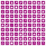 100 baby icons set grunge pink. 100 baby icons set in grunge style pink color isolated on white background vector illustration Stock Images