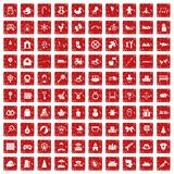 100 baby icons set grunge red. 100 baby icons set in grunge style red color isolated on white background vector illustration Royalty Free Stock Photography