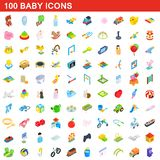 100 baby icons set, isometric 3d style. 100 baby icons set in isometric 3d style for any design illustration vector illustration