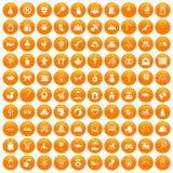 100 baby icons set orange. 100 baby icons set in orange circle isolated on white vector illustration royalty free illustration