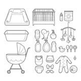 Baby Icons Set, Outline Icons Royalty Free Stock Photography