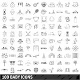 100 baby icons set, outline style. 100 baby icons set in outline style for any design vector illustration Stock Photo