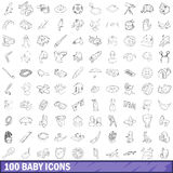100 baby icons set, outline style Royalty Free Stock Images