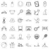 Baby icons set, outline style Royalty Free Stock Images