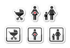 Baby icons set - parm, pregnancy, mother. Family icons as labels - baby, child, pregnant woman, carriage Royalty Free Stock Photography