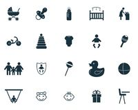 Baby icons set. Premium quality symbol collection. Baby icon set simple elements. stock illustration