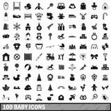 100 baby icons set, simple style Royalty Free Stock Photo