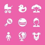 Baby icons set, vector. Illustrated icons on the theme of the baby, in a simple linear style Stock Images