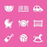Baby icons set, vector. Illustrated icons on the theme of the baby, in a simple linear style Royalty Free Stock Photography