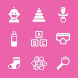 Baby icons set, vector. Illustrated icons on the theme of the baby, in a simple linear style Stock Photography