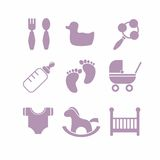 Baby icons set,. Vector icons on the theme of kids in a flat vintage style Royalty Free Stock Image