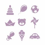 Baby icons set, vector. Vector icons on the theme of kids in a flat vintage style Royalty Free Stock Photo