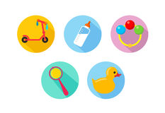 Baby icons. Simple contour icons on the theme of children, babes Royalty Free Stock Photos