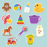 Baby icons stickers. For web and mobile applications. vector illustration Stock Photos