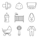 Baby icons in thin line style Royalty Free Stock Photos