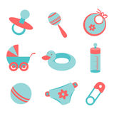 Baby icons. Vector set icons with baby symbols Royalty Free Stock Photos