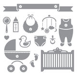 Baby icons. Vector set of baby symbols on white background Stock Photos