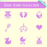 Baby icons vintage collection Stock Photos