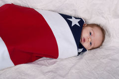 Baby iIn A Flag Royalty Free Stock Photos