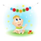 Baby illustration. Fun baby. Cartoon Vector illustration. royalty free illustration