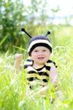 Baby im Bienenkostüm draußen Lizenzfreies Stockbild
