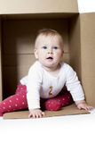 Baby In A Box Royalty Free Stock Photography