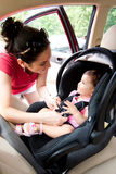 Baby In Car Seat For Safety Royalty Free Stock Images