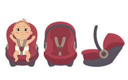 Free Baby In Car Seat. Side And Front Of Safety Chair Stock Photography - 107853432