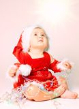 Baby In Santa Claus Hat Royalty Free Stock Photos