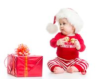 Baby In Santa Hat With Christmas Gift Box Isolated Royalty Free Stock Image