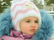 Baby In The Winter Time Royalty Free Stock Photo